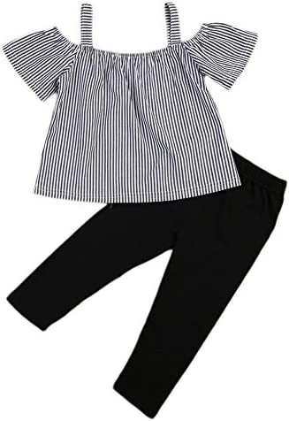 BiggerStore Kids Toddler Baby Girls Off Shoulder T-Shirt Tops+Long Pants Outfit Clothes Set