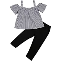 Kids bebé bebé niñas Off hombro playera de rayas Tops + Pants Outfit Set