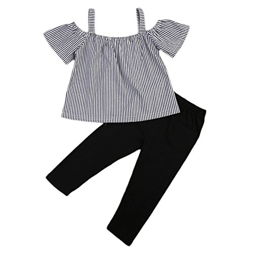 BiggerStore Kids Toddler Baby Girls Off Shoulder Striped T-shirt Tops+Pants Outfit Set (4-5 Years, Stripe+Black)