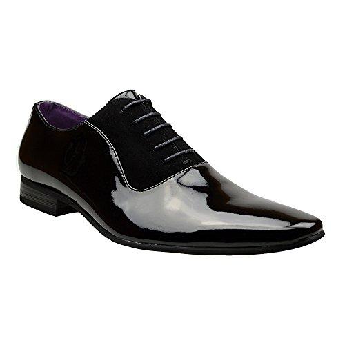 Mens New Casual Black Leather Smart Formal Lace Up Shoes Black UK 7 UK / 41 EU