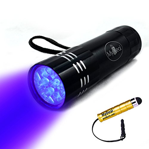 MyDeal VisiTRUTH UV Ultraviolet 9 LED Blacklight Pocket Flashlight WITH BATTERIES for Verifying IDs / Money / Credit Cards / UV Stamps and More Security! Includes Strap and Stylus