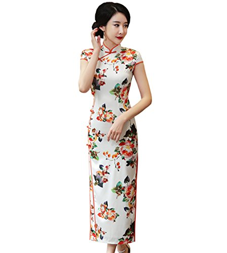ACVIP Damen Sommer Blumen Mustern Kurze Arme Schlank Polyester Lang Cheongsam