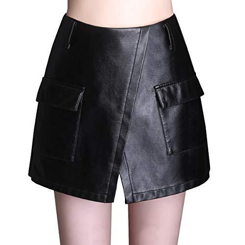 E FS627 Mini PU Club Jupe Cuir Short Girl Grande Taille Noir r5Iq6r