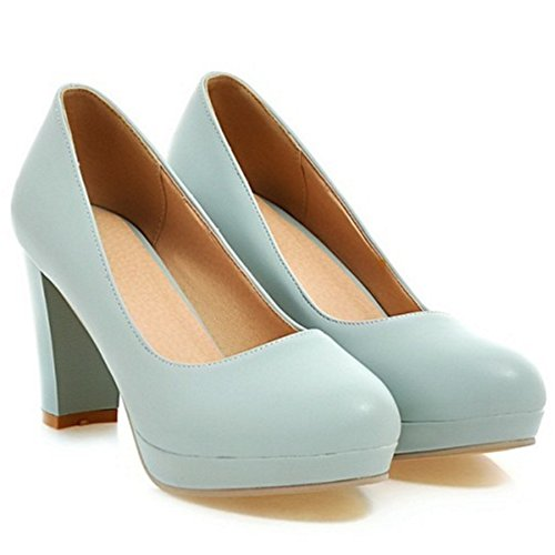 TAOFFEN Women Fashion Slip On Heels Pumps Blue mdTus