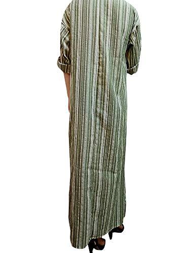 Celmia 4 Sleeve Dresses Women Green with Neck Dress V Casual Pockets Kangaroo Kaftan Striped Long Split Loose 3 rrOnqxzv
