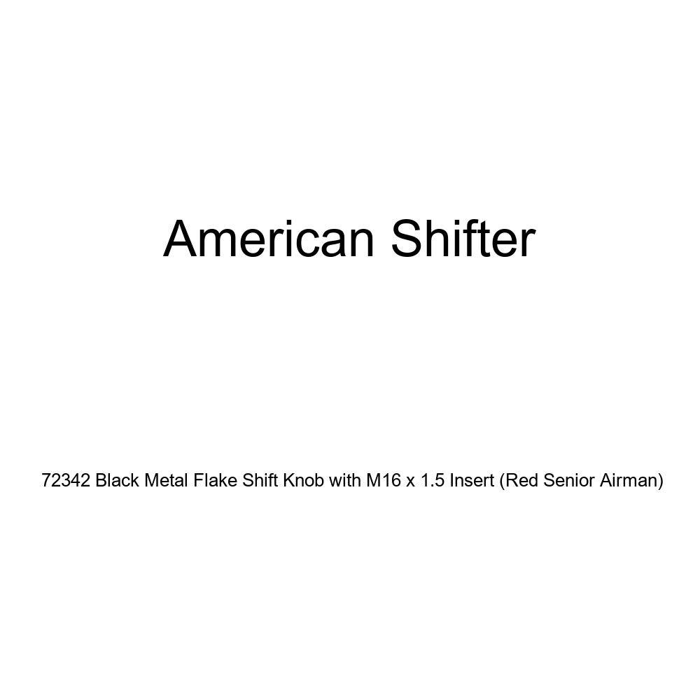 American Shifter 72342 Black Metal Flake Shift Knob with M16 x 1.5 Insert Red Senior Airman