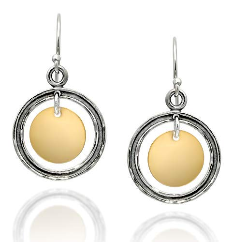Two Tone Circle and Disc Oxidized 925 Sterling Silver & 14k Gold Filled Dangle Earrings Women's Jewelry