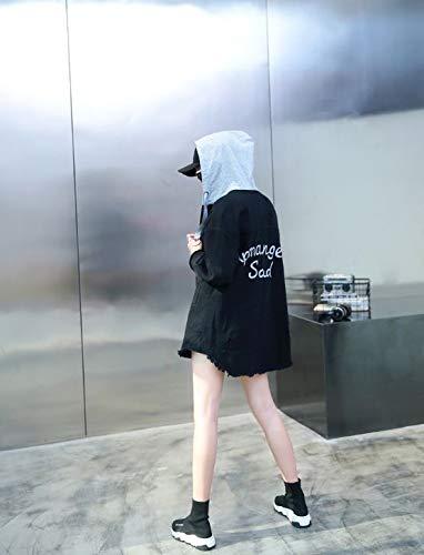 Ysfu Abrigo Top Outwear Damas Suelta Otoño Larga Casual Moda Tops Costura Mezclilla Mujer Encapuchada Sección Abrigos Invierno De Sudadera Chaqueta r7Rxpqnr6w