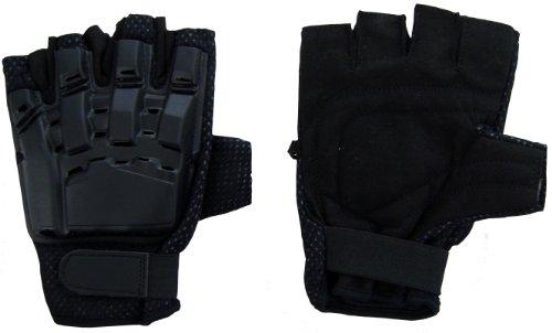 I&I SPORTS Black Flexon Half Finger Armored Paintball Gloves (SMALL)