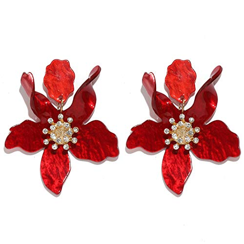 (Boho Stud Earrings for Women - Chic Flower Statement Earrings with Gold Flower Bud, Great for Sister, Mom, Lover and Friends (Red))
