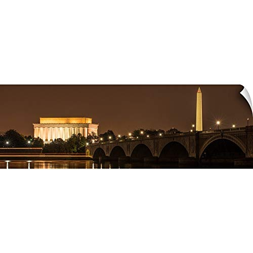CANVAS ON DEMAND Lincoln Memorial and Washington Monument at Night, Washington, DC Wall Peel Art Print, ()