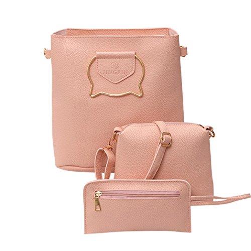 Set of 3PCS Women Large Shoulder Bag Cross-body Bags Leather Handbag Cheap for Girl by - Clutch Wonder Woman