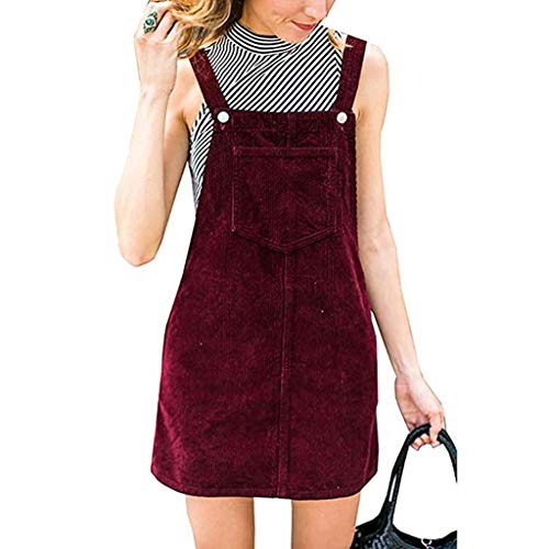 Bib Vintage Tank (Pandaie-Womens Dresses, Women Corduroy Straight Suspender Mini Bib Overall Pinafore Casual Pocket Dress)