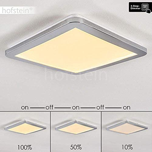 LED Deckenleuchte Fasola, eckige Deckenlampe aus Metall in Chrom, 18 Watt, 1000 Lumen, 3000 Kelvin (warmweiß), über Lichtschalter in 3 Stufen dimmbar, auch für das Badezimmer geeignet, IP44