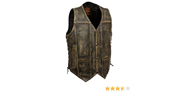 MA29 WOMENS MOTORCYCLE STYLISH LONGER LEATHER VEST w// DUAL CONCEAL POCKETS