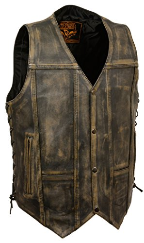 BROWN DISTRESSED LEATHER BIKER VEST S