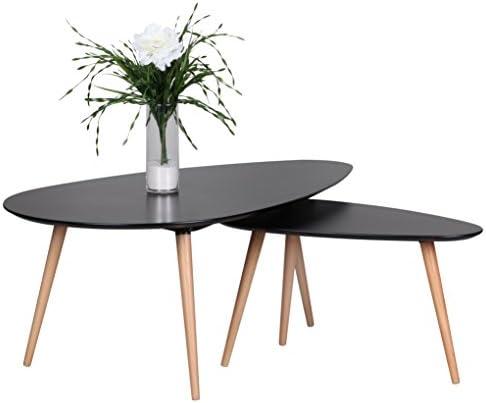 Goed Verkopen Wohnling Salontafel Scanio Scandinavische retro look salontafel, mat gelakte woonkamertafel met houten frame, woonkamermeubel, tafel, driepoot, bijzettafel, 2-delige set, zwart  15M486r