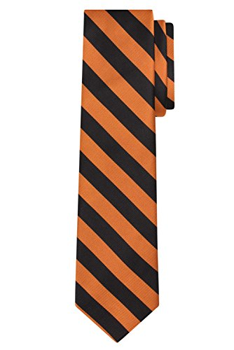Jacob Alexander Stripe Woven Men's Reg College Bar Stripe Tie - Orange Black