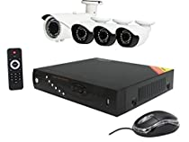 Aposonic 8-Channel H.264 AHD 1080P DVR with 4 x Outdoor 2MP 1080P IR Cameras Surveillance System with 2TB HDD, Mobile Access, Mac Ready