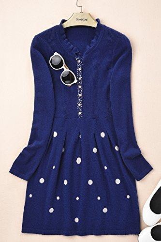 Zhili Women's 100% Cashmere V Neck Long Sleeve jumper Sweater Skirt
