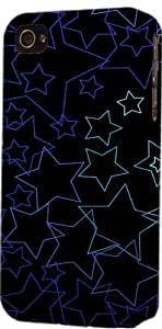 Black Star Pattern Dimensional Case Fits Apple iPhone 4 or iPhone 4s