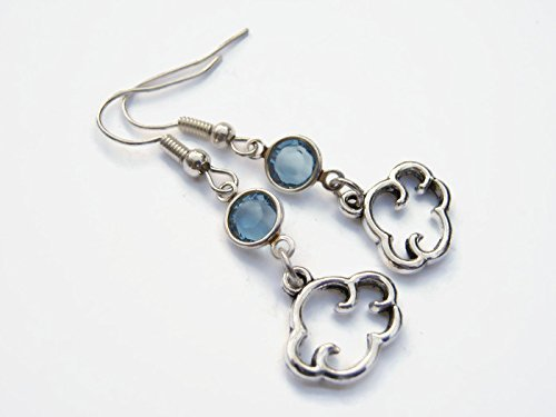 Cloud Birthstone Earrings, Personalized Cloud Earrings, Weather Earrings,