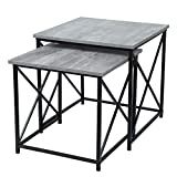 Cheap Adeco FT0209-1 Multi-Function Nesting Sets, Wooden Style Top with Metal Cross Legs, 2 Pcs Coffee Tables, Fossil Gray