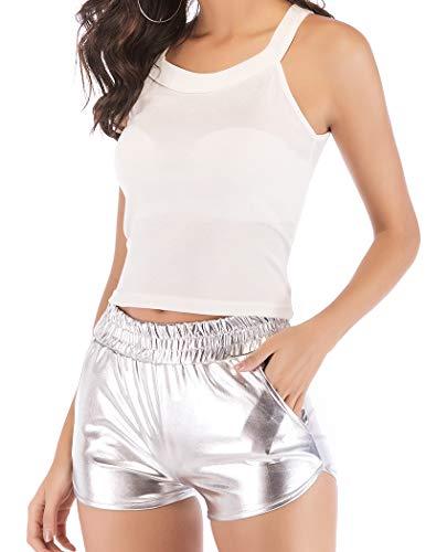 (JANSION Women's Shiny MetallicBootyShortsDanceBottoms Yoga Outfit Hot Pants Clubwear)