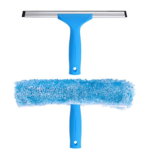 MR.SIGA Professional Window Cleaning Combo - Squeegee & Microfiber Window Scrubber, 10