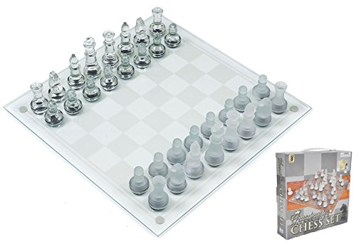 """Play Kreative Glass Chess Game Set - Kids Mini 7.5"""" Glass Chess Game Great Gift for Children"""