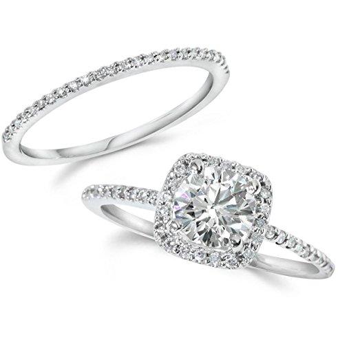 1CT Diamond Engagement Ring Cushion Halo Wedding Ring Set 14K White Gold - Size 6
