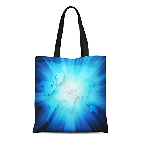 Semtomn Canvas Tote Bag Shoulder Bags Abstract Blue World Best Internet of Global From Series Women's Handle Shoulder Tote Shopper Handbag
