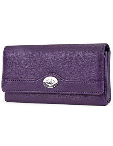 Mundi File Master Womens RFID Blocking Wallet Clutch Organizer With Change Pocket (One Size, (Purple))