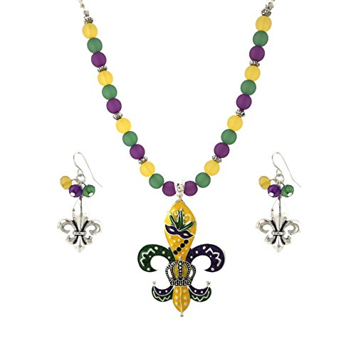 Mardi Gras Theme Pendant 18 Inch Necklace and Earrings