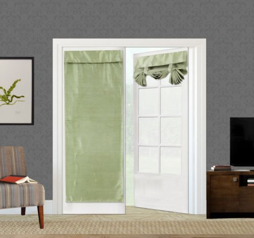 (DEN_MON 1PC Elegant ROLL UP Lined Blackout Window Curtain French Door New Panel Gaby (SAGE Green))