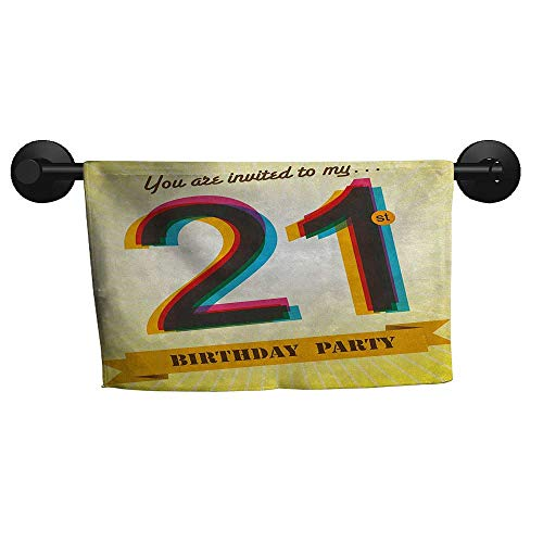 alisoso 21st Birthday,Personalized Towels Invitation to an Amazing Birthday Party on a Golden Colored Backdrop Image Gym Towels for Women W 28
