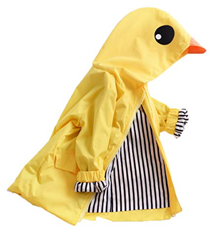 KimSoong Toddler Baby Boys Girls 3D Duck Raincoat Unisex Cute Cartoon Animal Windbreaker Jacket Casual Outerwear Clothes Size 12-18 Months/Tag90 (Yellow)