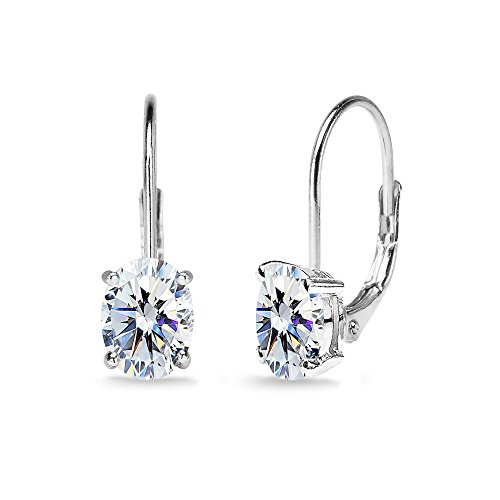 Sterling Silver 7x5mm Oval Solitaire Dainty Leverback Earrings Made with Swarovski Zirconia by GemStar USA