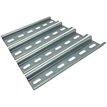 Electrodepot Slotted Steel Zinc Plated DIN Rail, 35 mm x 6 inches, Silver – 4 Pieces