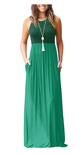 Women's Dresses Summer Striped Bohemian Short Sleeve Comfy Maxi Long Dress Green ()