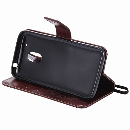 Yiizy Motorola Moto G4 Play Custodia Cover, Sole Petali Design Sottile Flip Portafoglio PU Pelle Cuoio Copertura Shell Case Slot Schede Cavalletto Stile Libro Bumper Protettivo Borsa (Marrone)