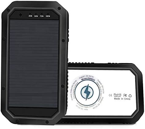 Aine 10000 Mah External Solar Charger Waterproof, Dustproof, Shockproof Power Bank for Outdoor Camping Hiking with Wireless Charging, Blight 28 LED Light, and three USB Port for Android and iOS