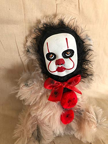OOAK Pennywise IT Clown Teddy Bear #7 Creepy Horror Doll Art Christie Creepydolls from Christie Creepy Dolls