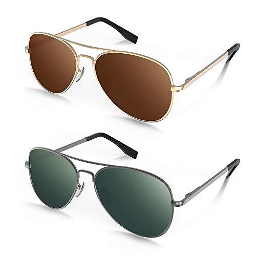 MOTOEYE Polarized Aviator Sunglasses for Kids Girls Boys Children Pack of 2 from 4 to 15 years ()
