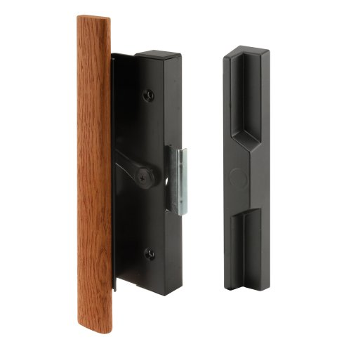 Prime-Line C 1126 Sliding Door Clamp Style Handle Set, 4-15/16 in., Wood Handle, Extruded Aluminum, Black, Pack of 1 ()