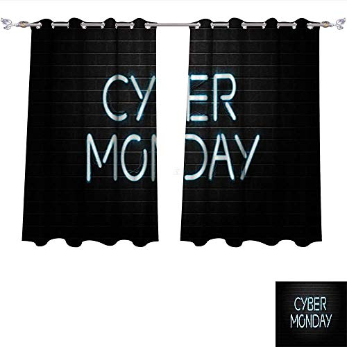 DragonBui Window Curtain Fabric Vector Realistic Isolated neon Sign Lettering for Decoration and Covering on The wal Blackout Window Curtain Panel W63 x L63/Pair ()