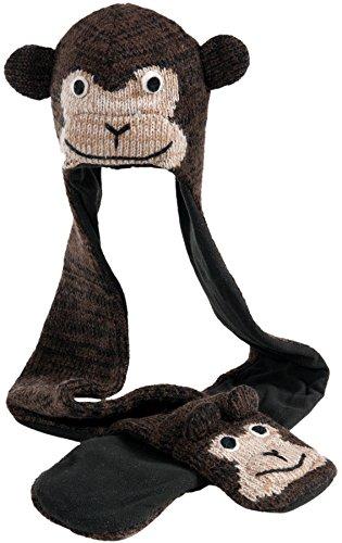 Nirvanna Designs HSCHEETA Monkey Hat Scarf, Brown, 11 Years