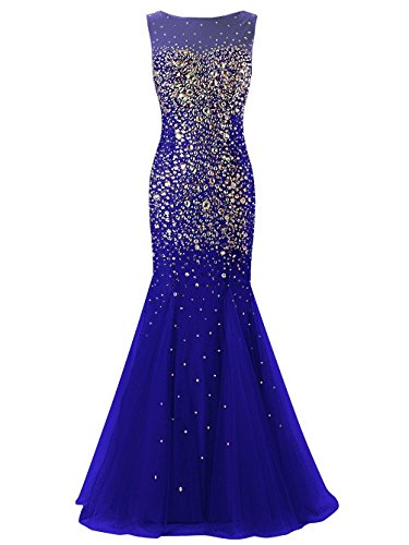 Cap Lang Sleeve Fanciest Ballkleid Royal Crystal Damen Evening Blue Meerjungfrau Gowns Abendkleider 2016 qTc51Z