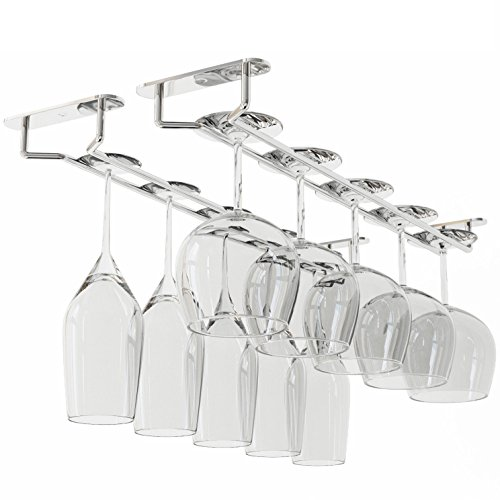 Wallniture Stemware Wine Glass Rack Hanger Under Cabinet Storage Chrome Finish 17 3/4 Inch Set of 2 (Oak China Cabinet Glass)
