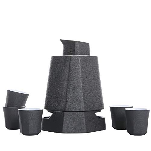 MIRUIKE Japanese Ceramic Sake Set with Sake Warmer Sake Pot,Black